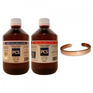 1 x Colloidal Silver 500ml, 1 x Colloidal Copper 500ml + FREE Pure Copper Bracelet!