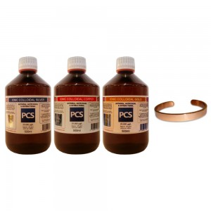 1 x Colloidal Silver, Copper & Gold 500ml + FREE Pure Copper Bracelet!